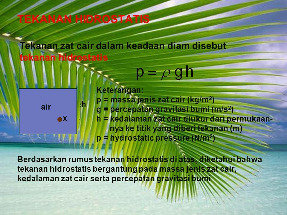 Adaptif Hal.: 5 Isi dengan Judul Halaman Terkait TEKANAN HIDROSTATIS Tekanan zat cair dalam keadaan diam disebut tekanan hidrostatis Keterangan: ρ = massa jenis zat cair (kg/m 2 ) g = percepatan gravitasi bumi (m/s 2 ) h = kedalaman zat cair diukur dari permukaan- nya ke titik yang diberi tekanan (m) p = hydrostatic pressure (N/m 2 ) Berdasarkan rumus tekanan hidrostatis di atas, diketahui bahwa tekanan hidrostatis bergantung pada massa jenis zat cair, kedalaman zat cair serta percepatan gravitasi bumi h x air