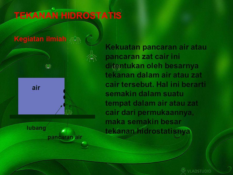 Adaptif Hal.: 7 Isi dengan Judul Halaman Terkait TEKANAN HIDROSTATIS Kekuatan pancaran air atau pancaran zat cair ini ditentukan oleh besarnya tekanan dalam air atau zat cair tersebut.