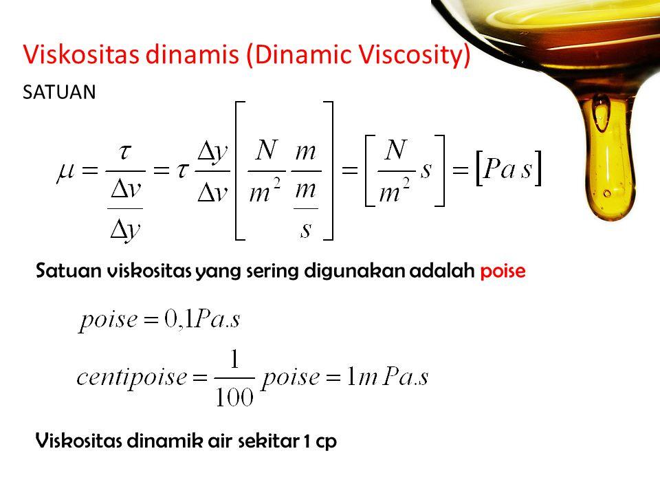Viskositas dinamis (Dinamic Viscosity) SATUAN Satuan viskositas yang sering digunakan adalah poise Viskositas dinamik air sekitar 1 cp