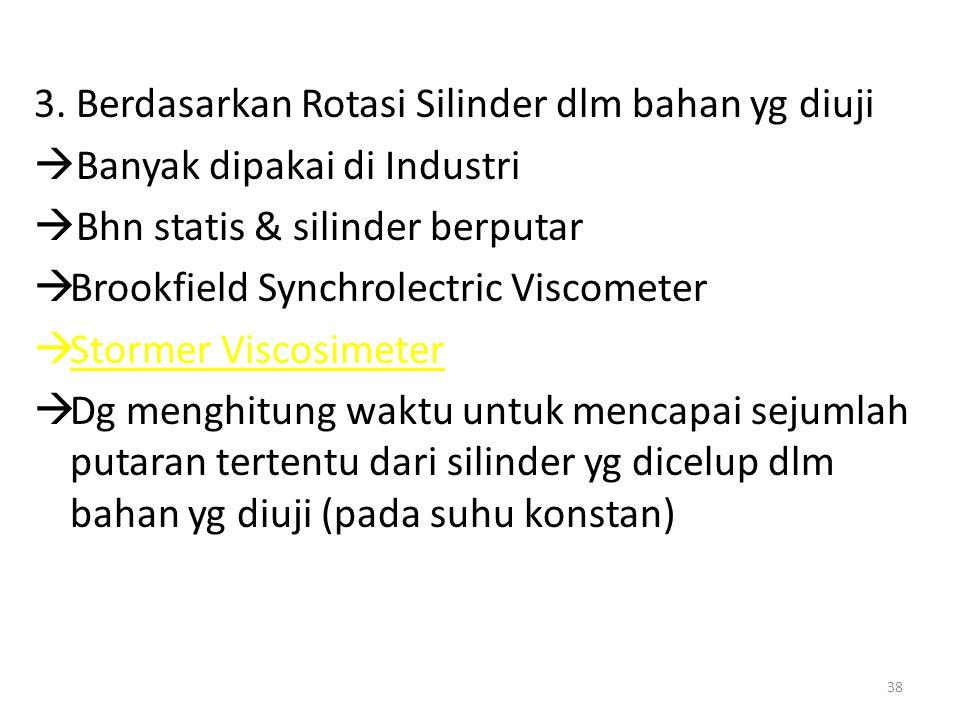 3. Berdasarkan Rotasi Silinder dlm bahan yg diuji  Banyak dipakai di Industri  Bhn statis & silinder berputar  Brookfield Synchrolectric Viscometer