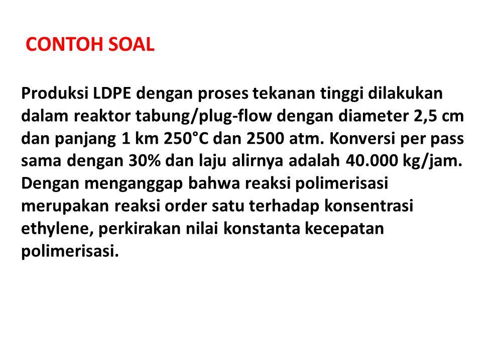 CONTOH SOAL Produksi LDPE dengan proses tekanan tinggi dilakukan dalam reaktor tabung/plug-flow dengan diameter 2,5 cm dan panjang 1 km 250°C dan 2500
