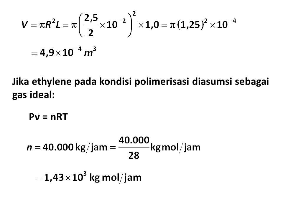 Jika ethylene pada kondisi polimerisasi diasumsi sebagai gas ideal: Pv = nRT