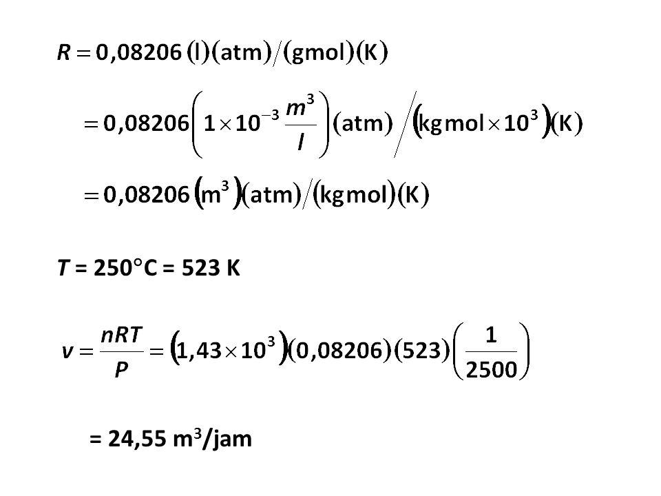 T = 250  C = 523 K = 24,55 m 3 /jam