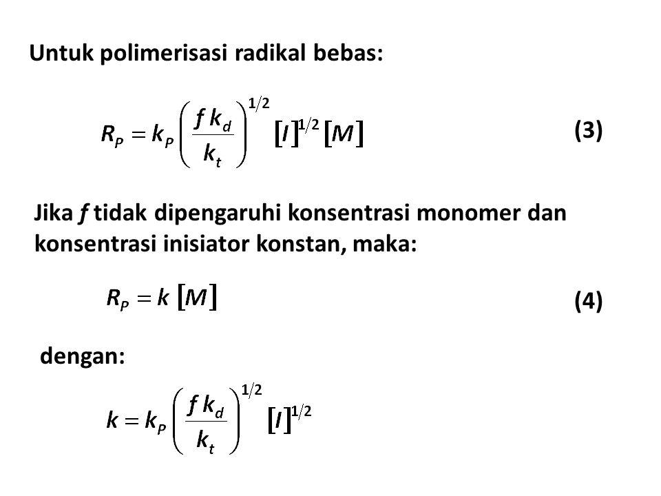 Untuk polimerisasi radikal bebas: Jika f tidak dipengaruhi konsentrasi monomer dan konsentrasi inisiator konstan, maka: dengan: (3) (4)