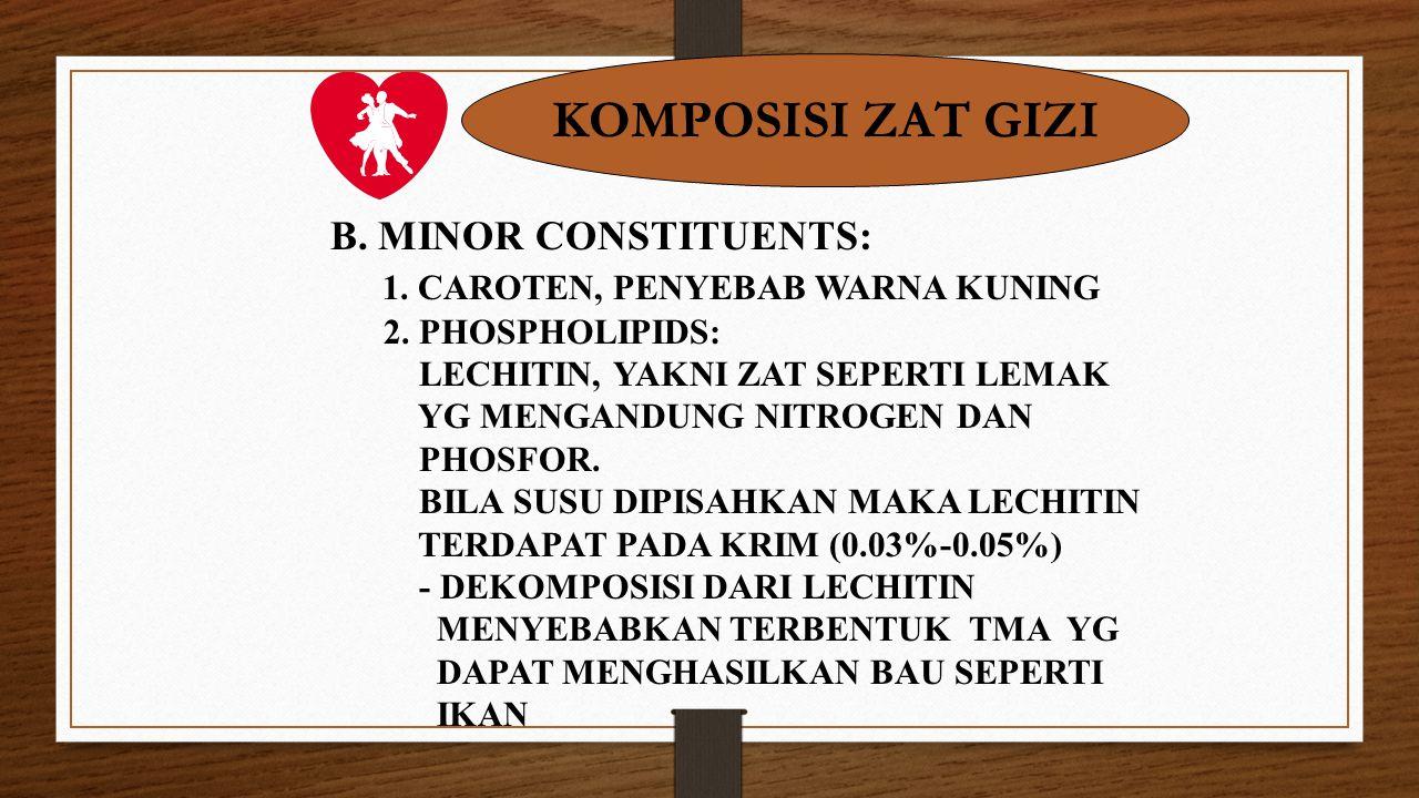KOMPOSISI ZAT GIZI B. MINOR CONSTITUENTS: 1. CAROTEN, PENYEBAB WARNA KUNING 2. PHOSPHOLIPIDS: LECHITIN, YAKNI ZAT SEPERTI LEMAK YG MENGANDUNG NITROGEN