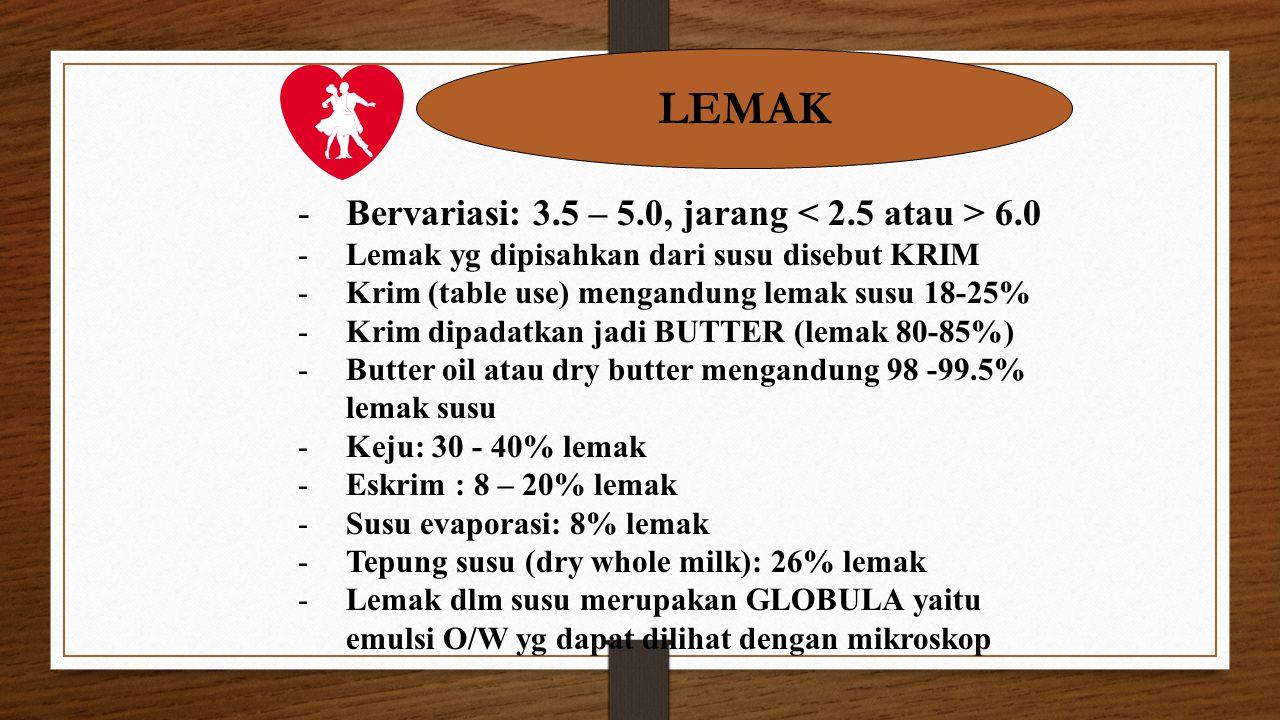 LEMAK -Bervariasi: 3.5 – 5.0, jarang 6.0 -Lemak yg dipisahkan dari susu disebut KRIM -Krim (table use) mengandung lemak susu 18-25% -Krim dipadatkan j