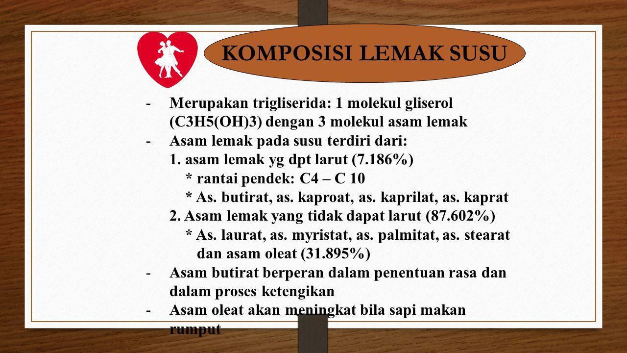 KOMPOSISI LEMAK SUSU -Merupakan trigliserida: 1 molekul gliserol (C3H5(OH)3) dengan 3 molekul asam lemak -Asam lemak pada susu terdiri dari: 1. asam l