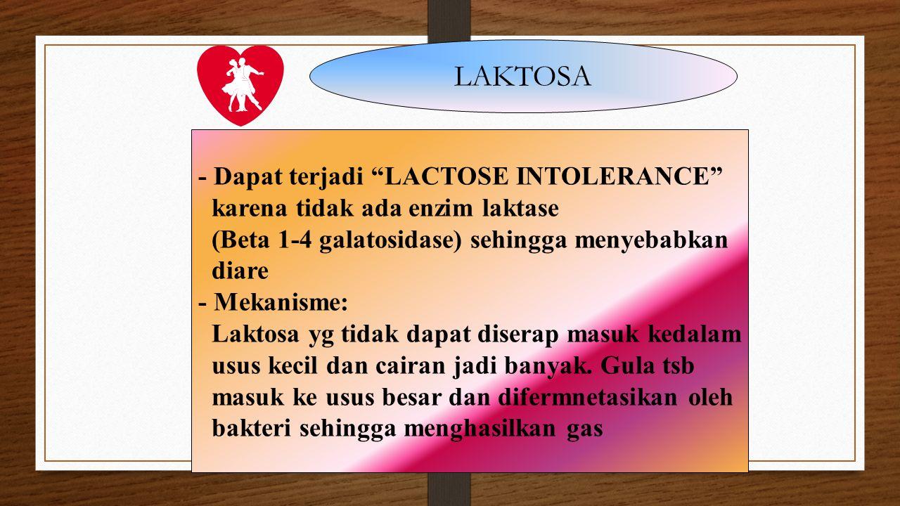 """LAKTOSA - Dapat terjadi """"LACTOSE INTOLERANCE"""" karena tidak ada enzim laktase (Beta 1-4 galatosidase) sehingga menyebabkan diare - Mekanisme: Laktosa y"""