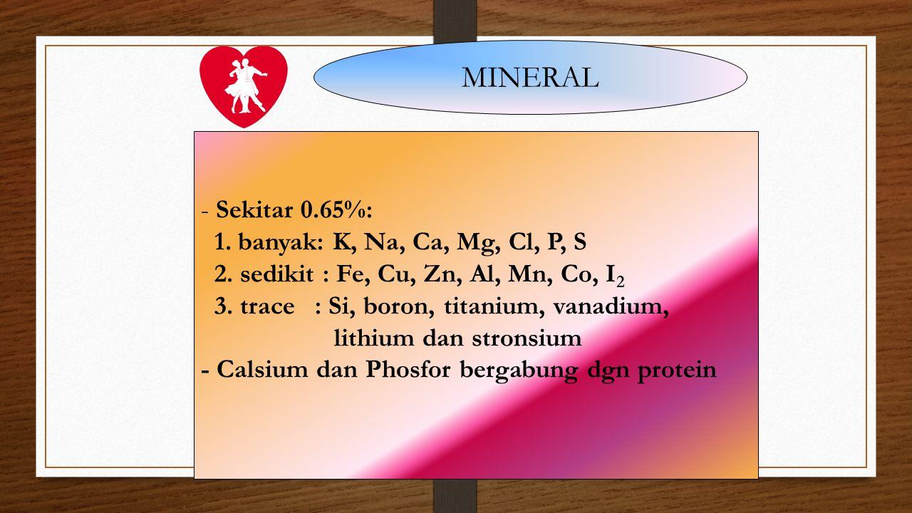 MINERAL - Sekitar 0.65%: 1. banyak: K, Na, Ca, Mg, Cl, P, S 2. sedikit : Fe, Cu, Zn, Al, Mn, Co, I 2 3. trace : Si, boron, titanium, vanadium, lithium
