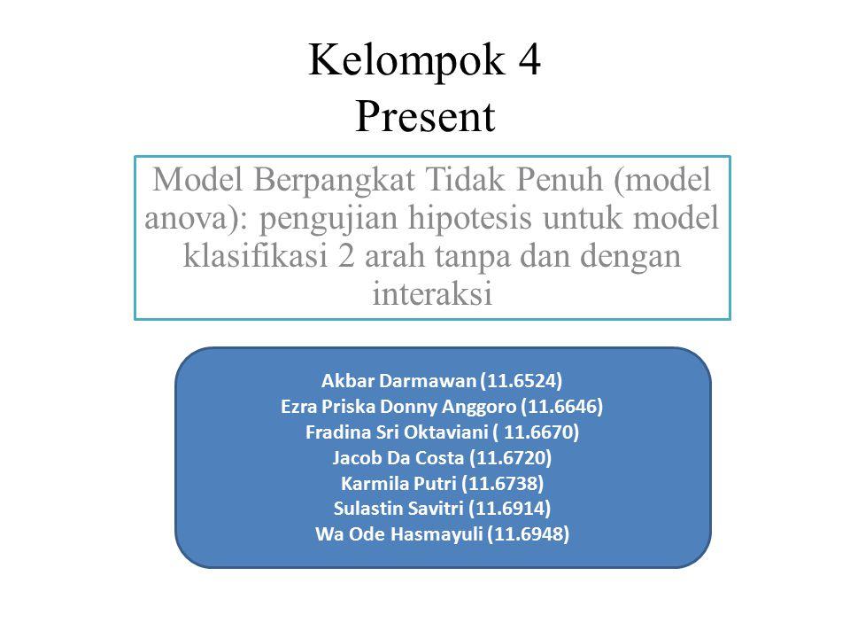 Kelompok 4 Present Model Berpangkat Tidak Penuh (model anova): pengujian hipotesis untuk model klasifikasi 2 arah tanpa dan dengan interaksi Akbar Dar