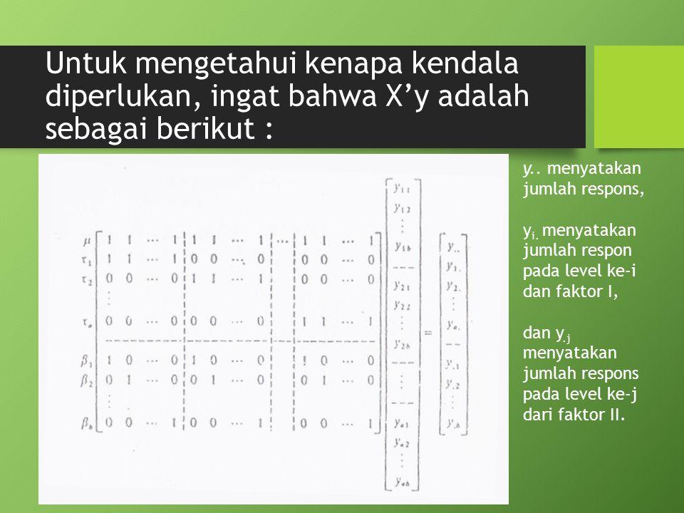 Untuk mengetahui kenapa kendala diperlukan, ingat bahwa X'y adalah sebagai berikut : y.. menyatakan jumlah respons, y i. menyatakan jumlah respon pada