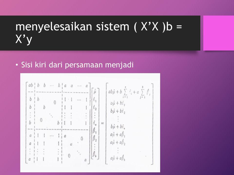 menyelesaikan sistem ( X'X )b = X'y Sisi kiri dari persamaan menjadi