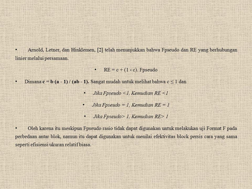 Arnold, Letner, dan Hinklemen, [2] telah menunjukkan bahwa Fpseudo dan RE yang berhubungan linier melalui persamaan. RE = c + (1 - c). Fpseudo Dimana