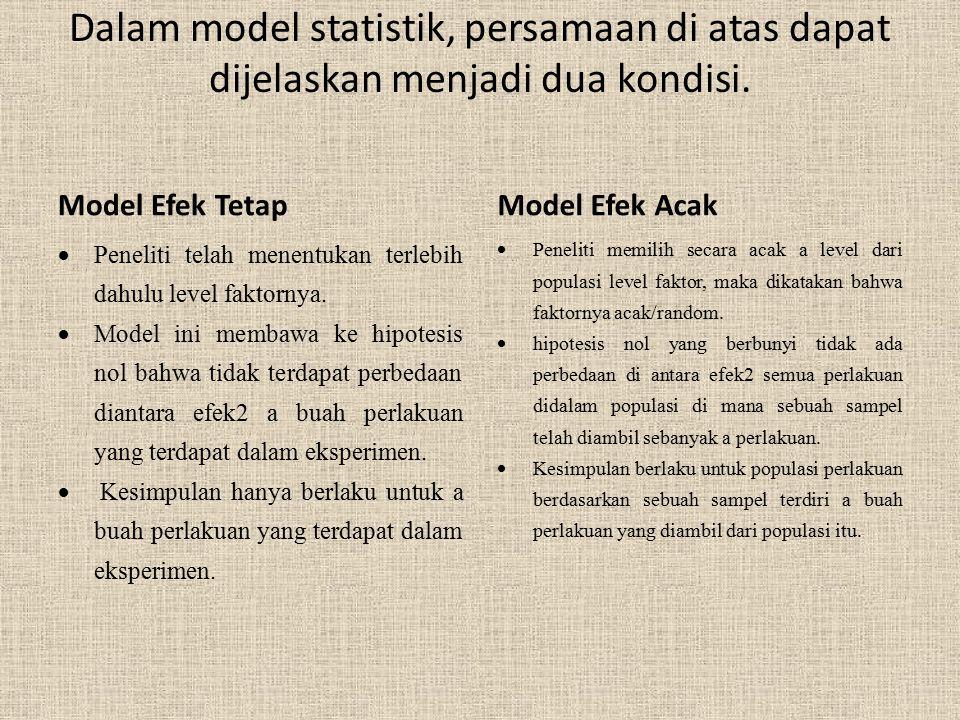 Dalam model statistik, persamaan di atas dapat dijelaskan menjadi dua kondisi. Model Efek Tetap  Peneliti telah menentukan terlebih dahulu level fakt