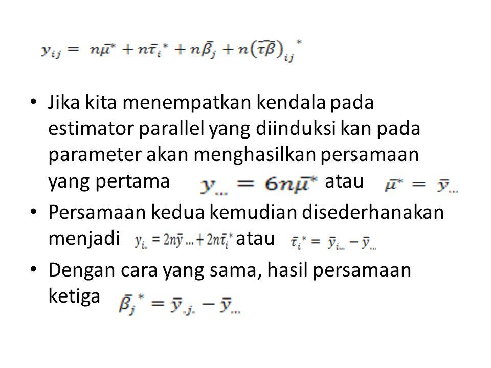 Jika kita menempatkan kendala pada estimator parallel yang diinduksi kan pada parameter akan menghasilkan persamaan yang pertama atau Persamaan kedua