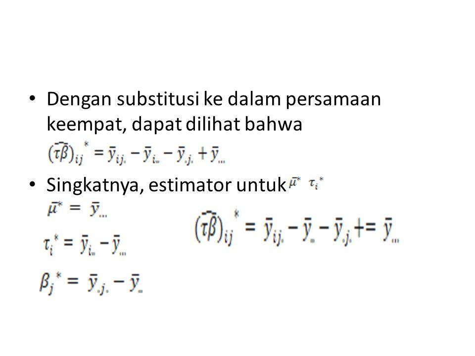 Dengan substitusi ke dalam persamaan keempat, dapat dilihat bahwa Singkatnya, estimator untuk