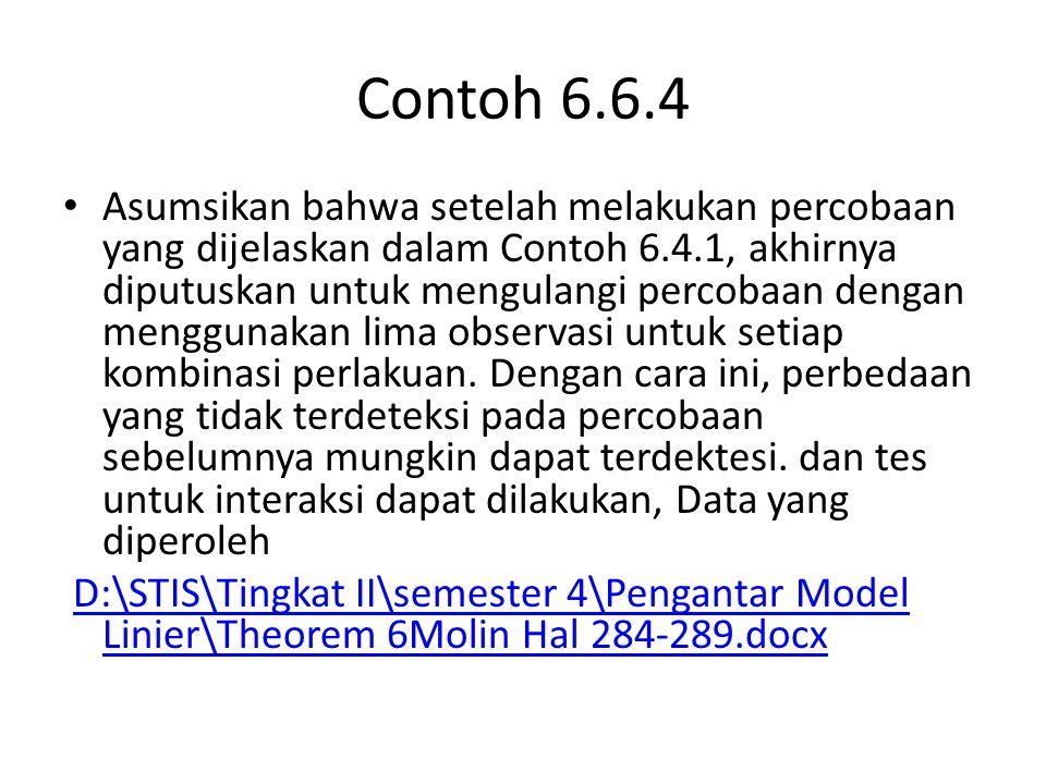 Contoh 6.6.4 Asumsikan bahwa setelah melakukan percobaan yang dijelaskan dalam Contoh 6.4.1, akhirnya diputuskan untuk mengulangi percobaan dengan men