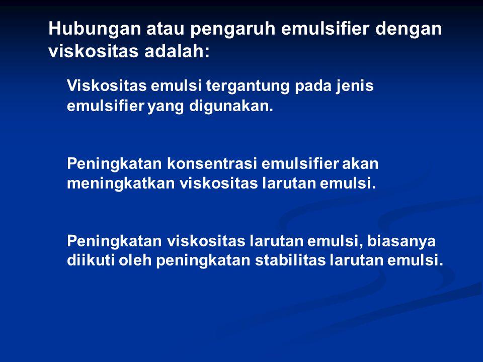 Hubungan atau pengaruh emulsifier dengan viskositas adalah: Viskositas emulsi tergantung pada jenis emulsifier yang digunakan. Peningkatan konsentrasi
