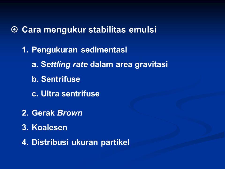  Cara mengukur stabilitas emulsi 1. Pengukuran sedimentasi a. Settling rate dalam area gravitasi b. Sentrifuse c. Ultra sentrifuse 2.Gerak Brown 3. K
