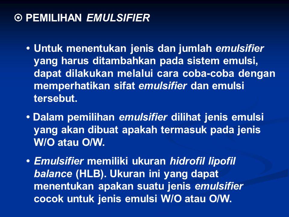  PEMILIHAN EMULSIFIER Untuk menentukan jenis dan jumlah emulsifier yang harus ditambahkan pada sistem emulsi, dapat dilakukan melalui cara coba-coba