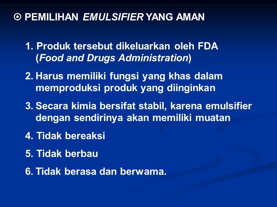  PEMILIHAN EMULSIFIER YANG AMAN 1. Produk tersebut dikeluarkan oleh FDA (Food and Drugs Administration) 2.Harus memiliki fungsi yang khas dalam mempr