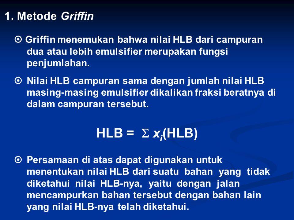 1. Metode Griffin  Griffin menemukan bahwa nilai HLB dari campuran dua atau lebih emulsifier merupakan fungsi penjumlahan.  Nilai HLB campuran sama