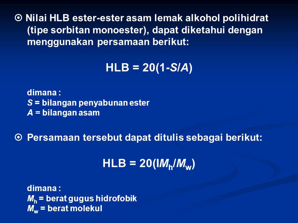  Nilai HLB ester-ester asam lemak alkohol polihidrat (tipe sorbitan monoester), dapat diketahui dengan menggunakan persamaan berikut: HLB = 20(1-S/A) dimana : S = bilangan penyabunan ester A = bilangan asam  Persamaan tersebut dapat ditulis sebagai berikut: HLB = 20(IM h /M w ) dimana : M h = berat gugus hidrofobik M w = berat molekul