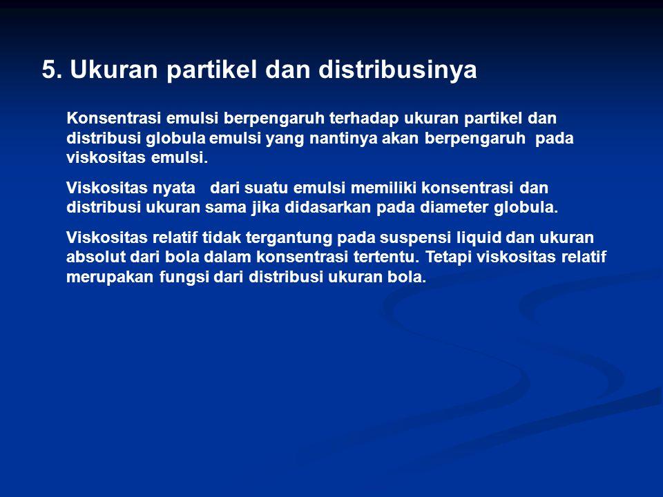 5. Ukuran partikel dan distribusinya Konsentrasi emulsi berpengaruh terhadap ukuran partikel dan distribusi globula emulsi yang nantinya akan berpenga