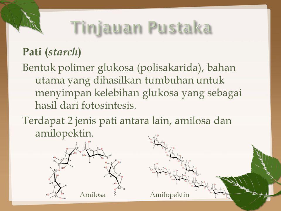 Pati ( starch ) Bentuk polimer glukosa (polisakarida), bahan utama yang dihasilkan tumbuhan untuk menyimpan kelebihan glukosa yang sebagai hasil dari fotosintesis.