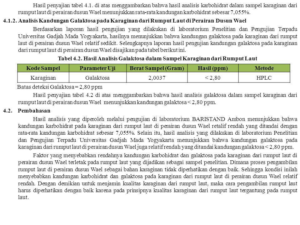 Hasil penyajian tabel 4.1. di atas menggambarkan bahwa hasil analisis karbohidrat dalam sampel karaginan dari rumput laut di perairan dusun Wael menun