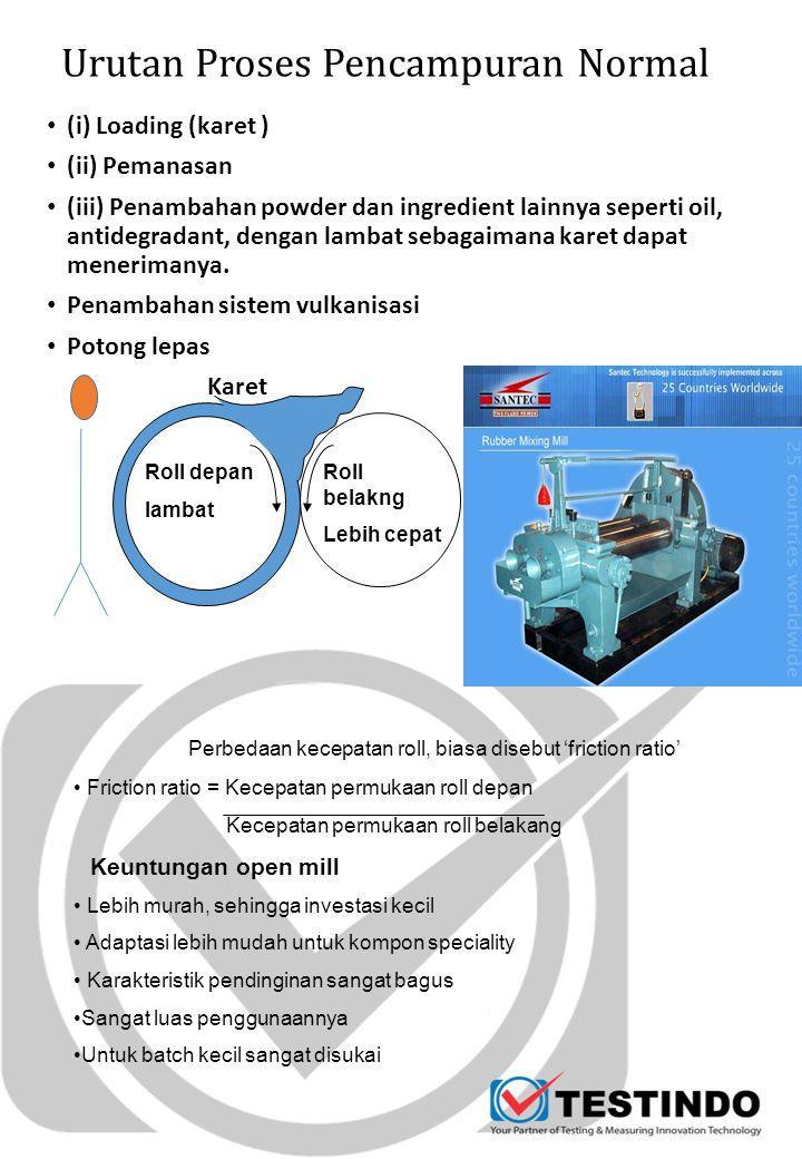 Urutan Proses Pencampuran Normal (i) Loading (karet ) (ii) Pemanasan (iii) Penambahan powder dan ingredient lainnya seperti oil, antidegradant, dengan
