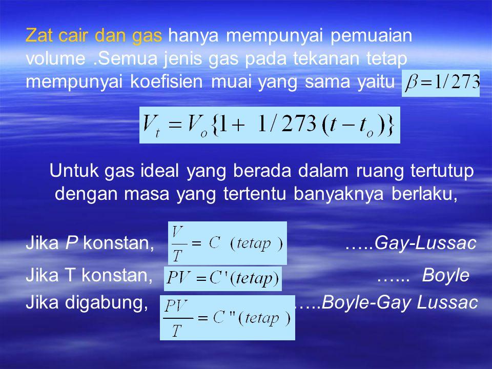 Zat cair dan gas hanya mempunyai pemuaian volume.Semua jenis gas pada tekanan tetap mempunyai koefisien muai yang sama yaitu Untuk gas ideal yang berada dalam ruang tertutup dengan masa yang tertentu banyaknya berlaku, Jika P konstan, …..Gay-Lussac Jika T konstan, …...