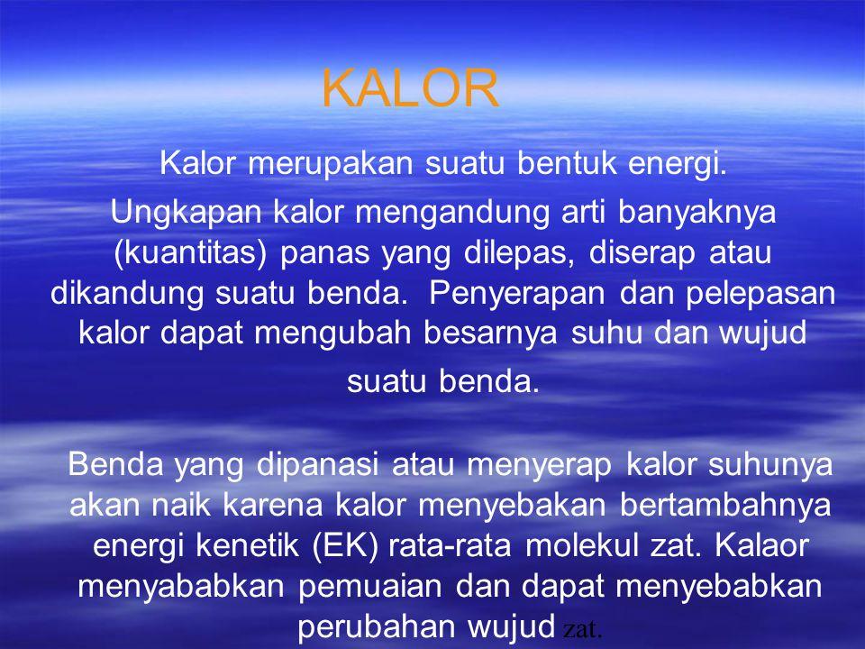 KALOR Kalor merupakan suatu bentuk energi.