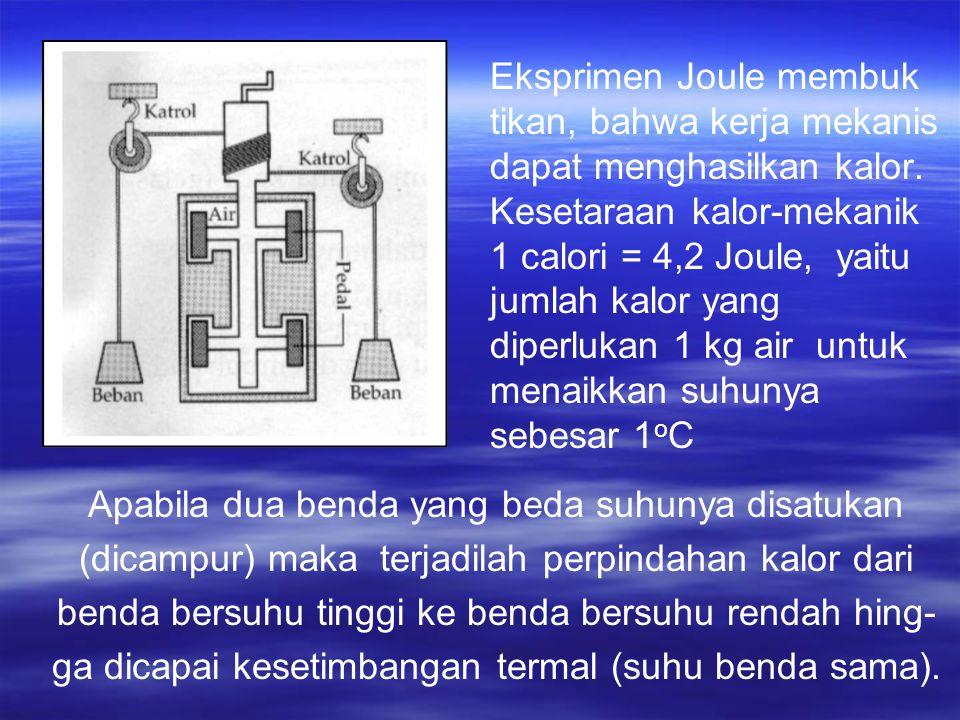 Eksprimen Joule membuk tikan, bahwa kerja mekanis dapat menghasilkan kalor.