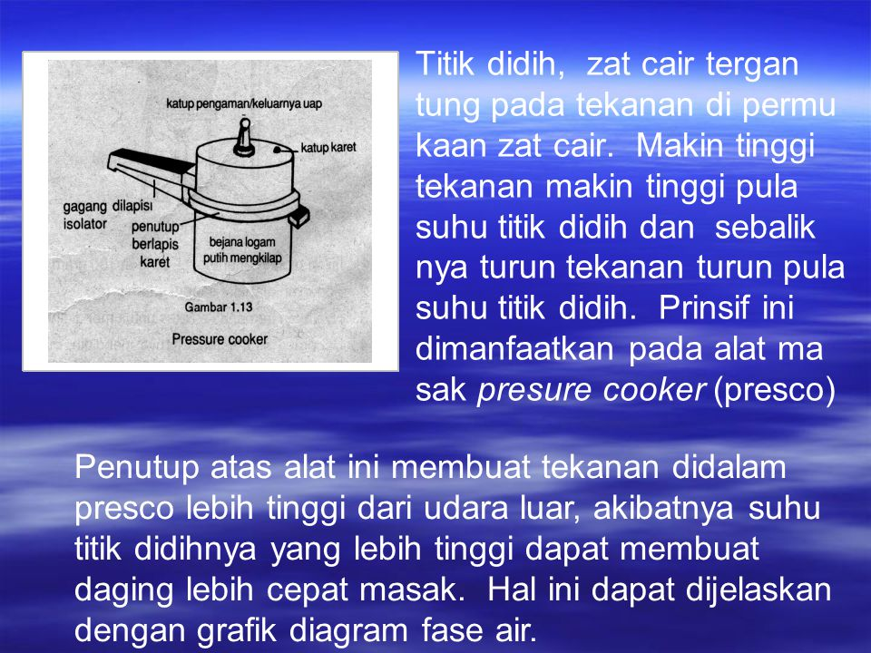 Titik didih, zat cair tergan tung pada tekanan di permu kaan zat cair.