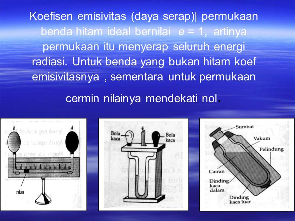 Koefisen emisivitas (daya serap)  permukaan benda hitam ideal bernilai e = 1, artinya permukaan itu menyerap seluruh energi radiasi.