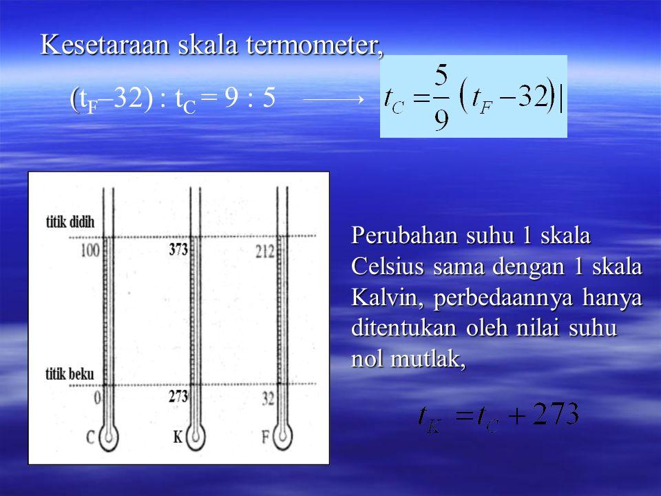 Kesetaraan skala termometer, ( (t F –32) : t C = 9 : 5 Perubahan suhu 1 skala Celsius sama dengan 1 skala Kalvin, perbedaannya hanya ditentukan oleh nilai suhu nol mutlak,