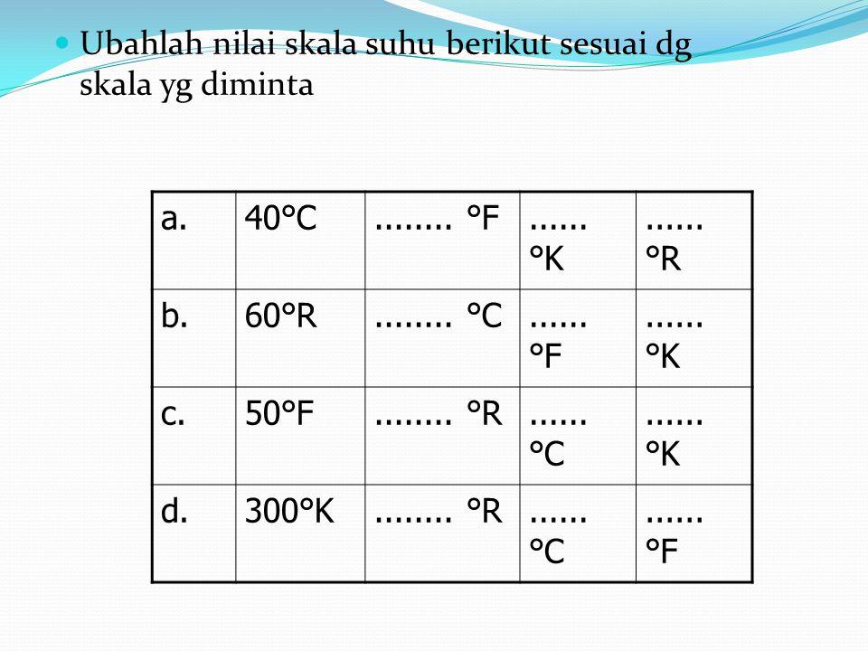 Ubahlah nilai skala suhu berikut sesuai dg skala yg diminta a.40°C........ °F...... °K...... °R b.60°R........ °C...... °F...... °K c.50°F........ °R.