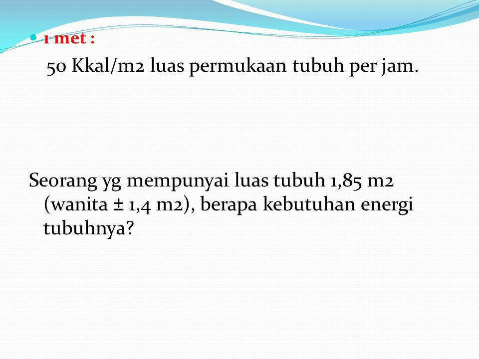 1 met : 50 Kkal/m2 luas permukaan tubuh per jam. Seorang yg mempunyai luas tubuh 1,85 m2 (wanita ± 1,4 m2), berapa kebutuhan energi tubuhnya?