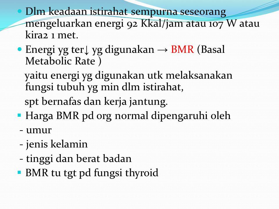 Dlm keadaan istirahat sempurna seseorang mengeluarkan energi 92 Kkal/jam atau 107 W atau kira2 1 met. Energi yg ter ↓ yg digunakan → BMR (Basal Metabo