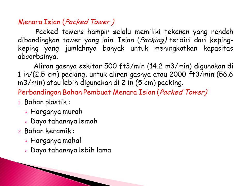 Menara Isian (Packed Tower ) Packed towers hampir selalu memiliki tekanan yang rendah dibandingkan tower yang lain.