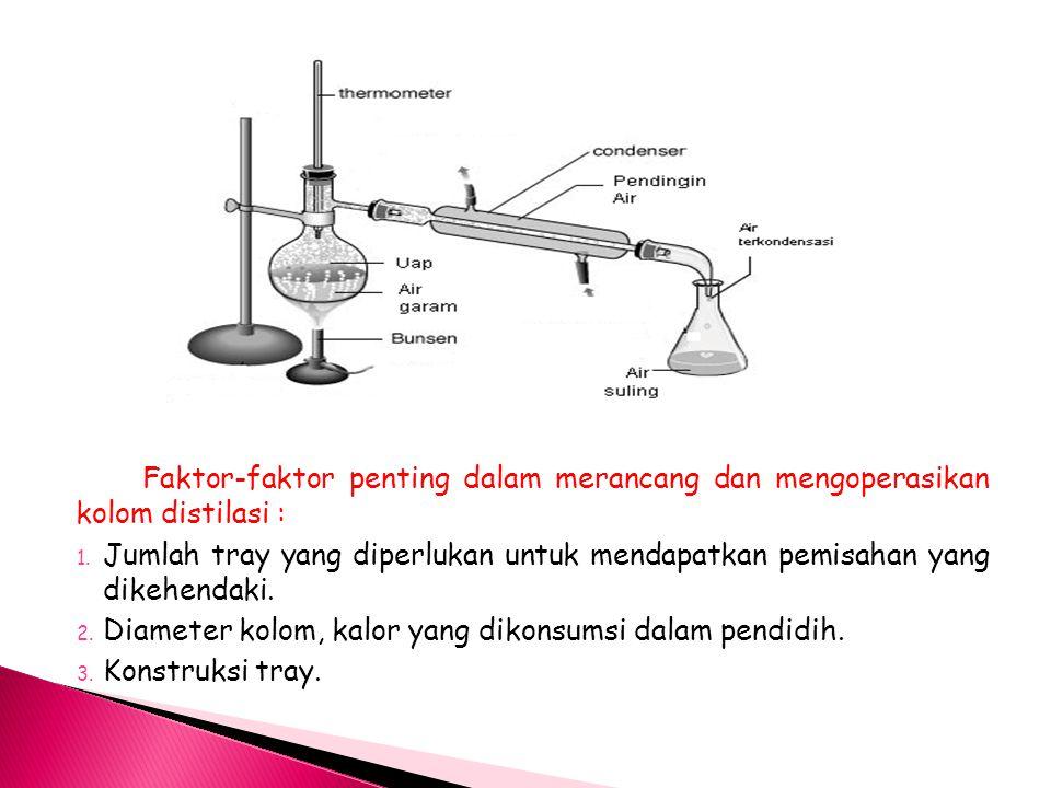 Faktor-faktor penting dalam merancang dan mengoperasikan kolom distilasi : 1.