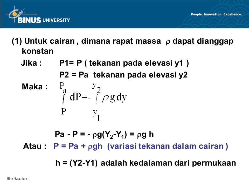 Bina Nusantara (1) Untuk cairan, dimana rapat massa  dapat dianggap konstan Jika : P1= P ( tekanan pada elevasi y1 ) P2 = Pa tekanan pada elevasi y2 Maka : Pa - P = -  g(Y 2 -Y 1 ) =  g h Atau : P = Pa +  gh (variasi tekanan dalam cairan ) h = (Y2-Y1) adalah kedalaman dari permukaan