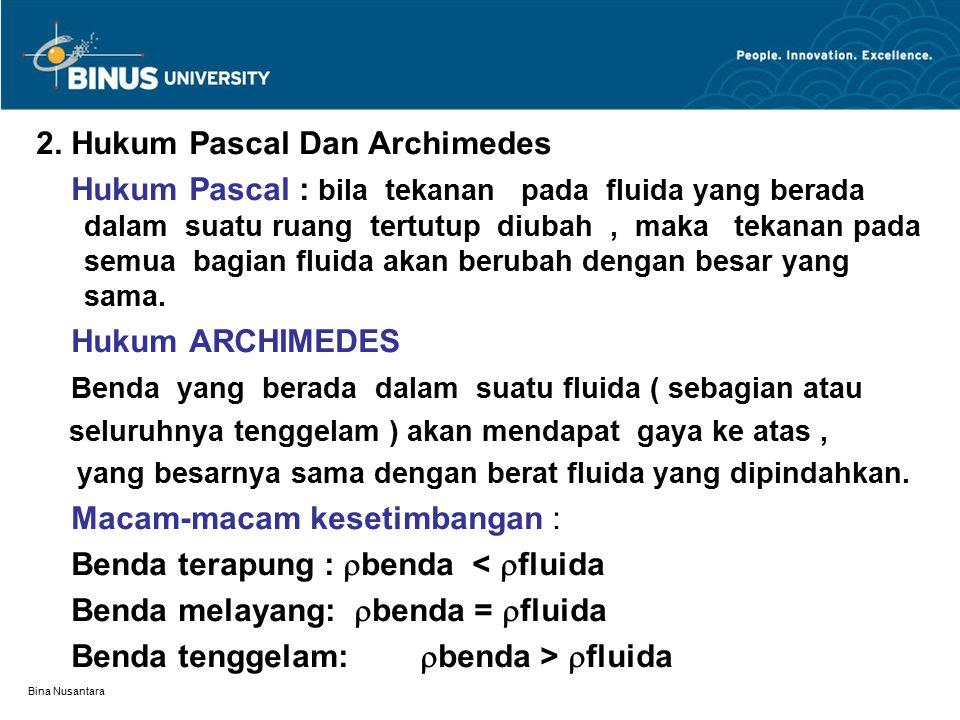 Bina Nusantara 2. Hukum Pascal Dan Archimedes Hukum Pascal : bila tekanan pada fluida yang berada dalam suatu ruang tertutup diubah, maka tekanan pada