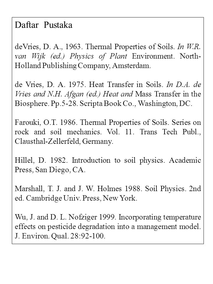 Daftar Pustaka deVries, D. A., 1963. Thermal Properties of Soils. In W.R. van Wijk (ed.) Physics of Plant Environment. North- Holland Publishing Compa
