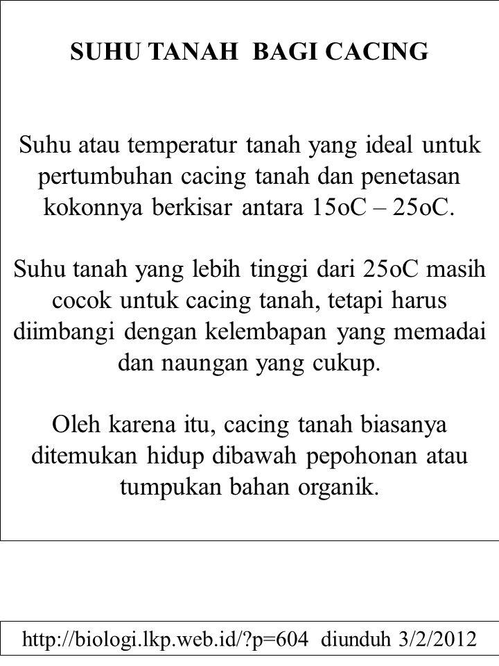 SUHU TANAH BAGI CACING Suhu atau temperatur tanah yang ideal untuk pertumbuhan cacing tanah dan penetasan kokonnya berkisar antara 15oC – 25oC. Suhu t