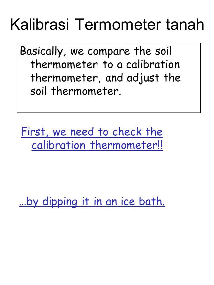 Kalibrasi Termometer tanah Basically, we compare the soil thermometer to a calibration thermometer, and adjust the soil thermometer. First, we need to
