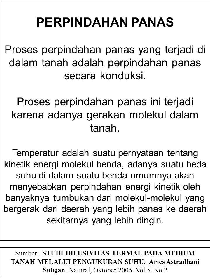 PERPINDAHAN PANAS Proses perpindahan panas yang terjadi di dalam tanah adalah perpindahan panas secara konduksi. Proses perpindahan panas ini terjadi