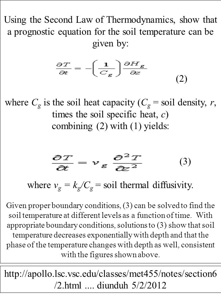 Using the Second Law of Thermodynamics, show that a prognostic equation for the soil temperature can be given by: (2) where C g is the soil heat capac