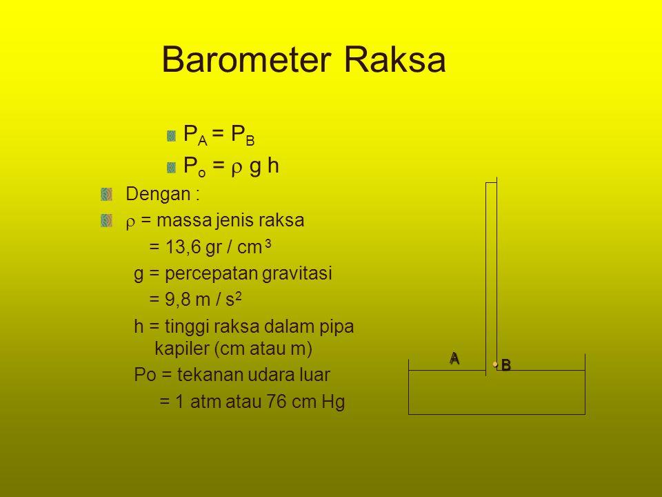 Barometer Raksa P A = P B P o =  g h Dengan :  = massa jenis raksa = 13,6 gr / cm 3 g = percepatan gravitasi = 9,8 m / s 2 h = tinggi raksa dalam pi